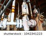wellhead on the remote platform ... | Shutterstock . vector #1042341223
