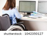 invalid or disabled young... | Shutterstock . vector #1042350127