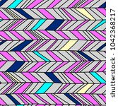 memphis chevron seamless boho... | Shutterstock .eps vector #1042368217