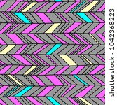 memphis chevron seamless boho... | Shutterstock .eps vector #1042368223