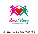 love story logo template design ... | Shutterstock .eps vector #1042383223