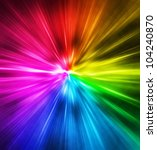 Light speed. Spectrum of Rainbow colored rays. - stock photo