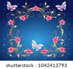 magic butterflies with golden... | Shutterstock .eps vector #1042413793