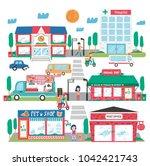 small town landscape ... | Shutterstock .eps vector #1042421743
