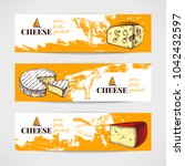 hand drawn sketch cheese banner ... | Shutterstock .eps vector #1042432597