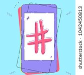 hand drawn hashtag sign with... | Shutterstock .eps vector #1042450813