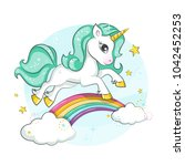 cute magical unicorn and... | Shutterstock .eps vector #1042452253