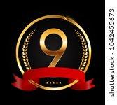 template logo 9 years... | Shutterstock .eps vector #1042455673