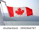 canadian flag waving in the... | Shutterstock . vector #1042466767