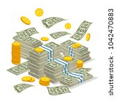 big money stack isometric... | Shutterstock . vector #1042470883