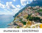 view on positano on amalfi...   Shutterstock . vector #1042509463
