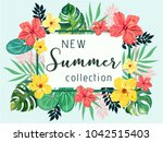 Rectangular summer tropical background with monstera deliciosa, exotic palm leaves and hibiscus flowers. Vector floral background. | Shutterstock vector #1042515403