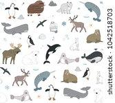 arctic and antarctic polar... | Shutterstock .eps vector #1042518703