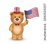vector cartoon teddy bear with... | Shutterstock .eps vector #1042523257