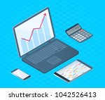 flat left top view isometric... | Shutterstock .eps vector #1042526413