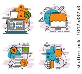 set of outline icons of... | Shutterstock .eps vector #1042533253