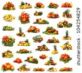 Many different piles of fruits and vegetables isolated on white - stock photo
