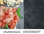 italian prosciutto crudo or... | Shutterstock . vector #1042558297