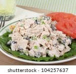 Tuna salad on lettuce leaf with tomato slices - stock photo