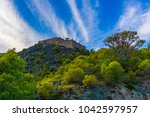 the castle is on the peninsula... | Shutterstock . vector #1042597957