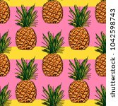 pattern with pineapple on... | Shutterstock . vector #1042598743