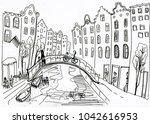 hand drawn panorama sketch of...   Shutterstock . vector #1042616953