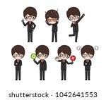 vector set of character cartoon ...   Shutterstock .eps vector #1042641553