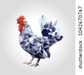 one rooster with colorful... | Shutterstock .eps vector #1042670767