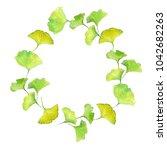 wreath frame. geen leaf. hand... | Shutterstock . vector #1042682263