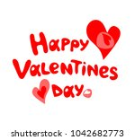 happy valentines day hand... | Shutterstock . vector #1042682773