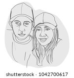 hand drawn woman and man  young ... | Shutterstock .eps vector #1042700617