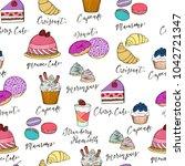 hand drawn sweet desserts...   Shutterstock .eps vector #1042721347