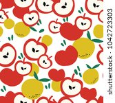fruits pattern background with... | Shutterstock .eps vector #1042723303