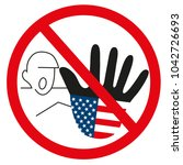graphic usa hand as stop sign... | Shutterstock .eps vector #1042726693