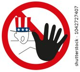 graphic usa hand as stop sign... | Shutterstock . vector #1042727407