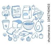 tasty breakfast food collection ... | Shutterstock .eps vector #1042740403