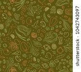 veggie seamless pattern with... | Shutterstock . vector #1042743097