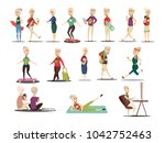elderly people concept icons... | Shutterstock . vector #1042752463