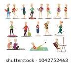 elderly people concept icons... | Shutterstock . vector #1042752463