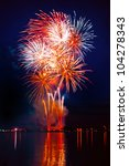 colorful firework in a night...   Shutterstock . vector #104278343