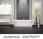 realistic bathroom interior... | Shutterstock . vector #1042792477