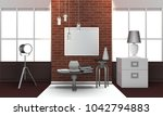 realistic loft interior with... | Shutterstock . vector #1042794883