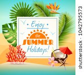 realistic summer party poster...   Shutterstock . vector #1042795573