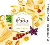 pasta decorative frame with... | Shutterstock . vector #1042795633