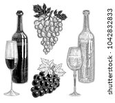 wine bottles  bunches of grapes ... | Shutterstock .eps vector #1042832833