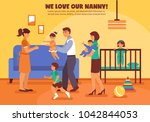 babysitter mother father and... | Shutterstock . vector #1042844053