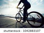 cyclist riding mountain bike in ... | Shutterstock . vector #1042883107