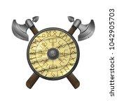 viking shield with runes  ...   Shutterstock .eps vector #1042905703