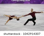 Small photo of GANGNEUNG, SOUTH KOREA - FEBRUARY 15, 2018: Bronze medalists Meagan Duhamel and Eric Radford of Canada perform in the Pair Skating Free Skating at the 2018 Winter Olympics at Gangneung Ice Arena