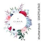 round floral label frame...   Shutterstock .eps vector #1042916563